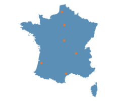 carte de france de nos clients mecanic sud centre aeroptic